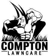 Compton Lawn Care cartoon logo with a man on a lawn mower.