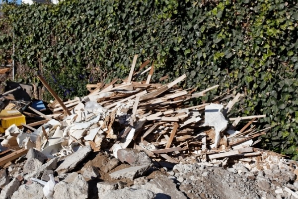 A pile of construction debris that needs to be disposed of.