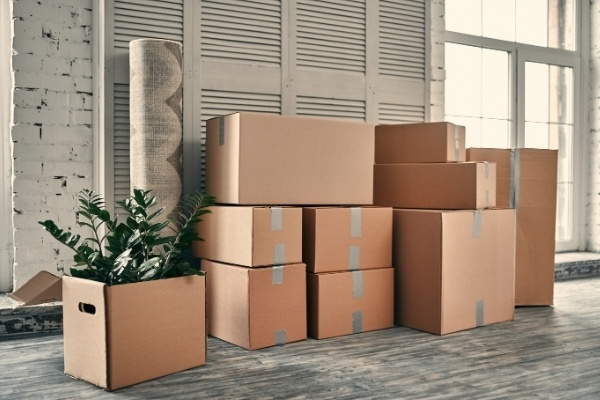 Several moving boxes stacked together.